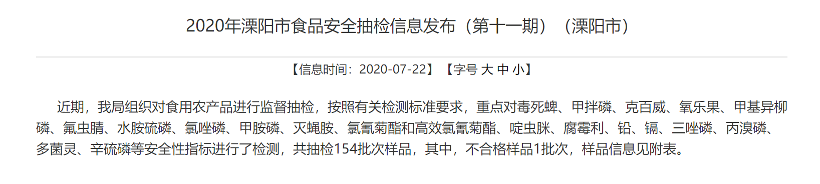 江苏省溧阳市市场监管局:1批次食品抽检不合格