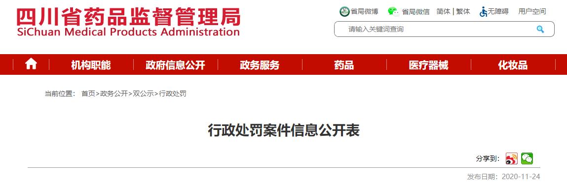 四川省药品监督管理局发布行政处罚案件信息  涉及多家公司