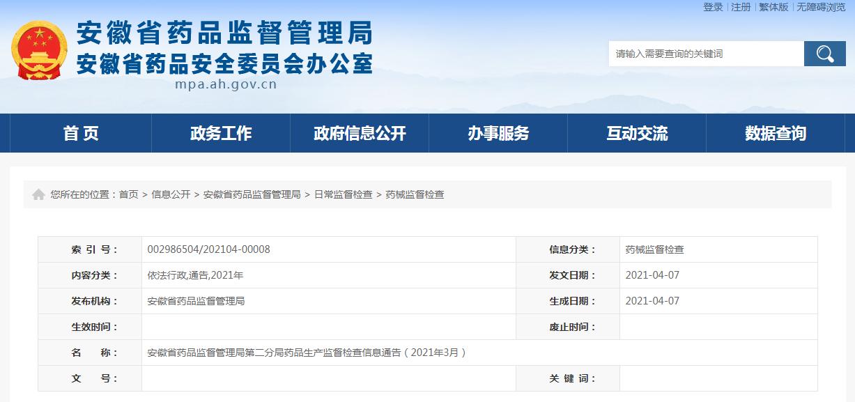 安徽省药品监督管理局第二分局发布2021年3月药品生产监督检查信息