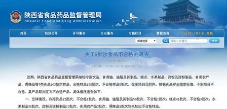陕西省食药监局抽查食品5批次样品不合格