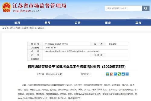 江苏省市场监督管理局:10批次食品不合格